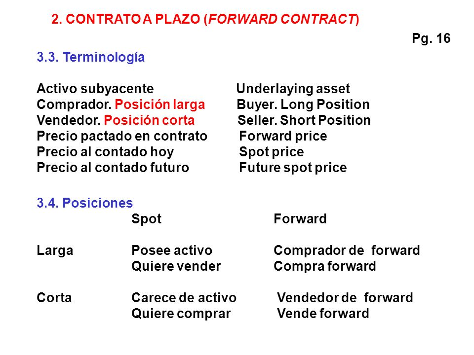 2. CONTRATO A PLAZO (FORWARD CONTRACT)