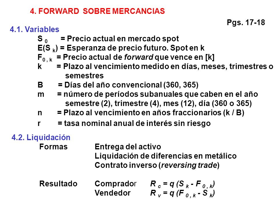 4. FORWARD SOBRE MERCANCIAS