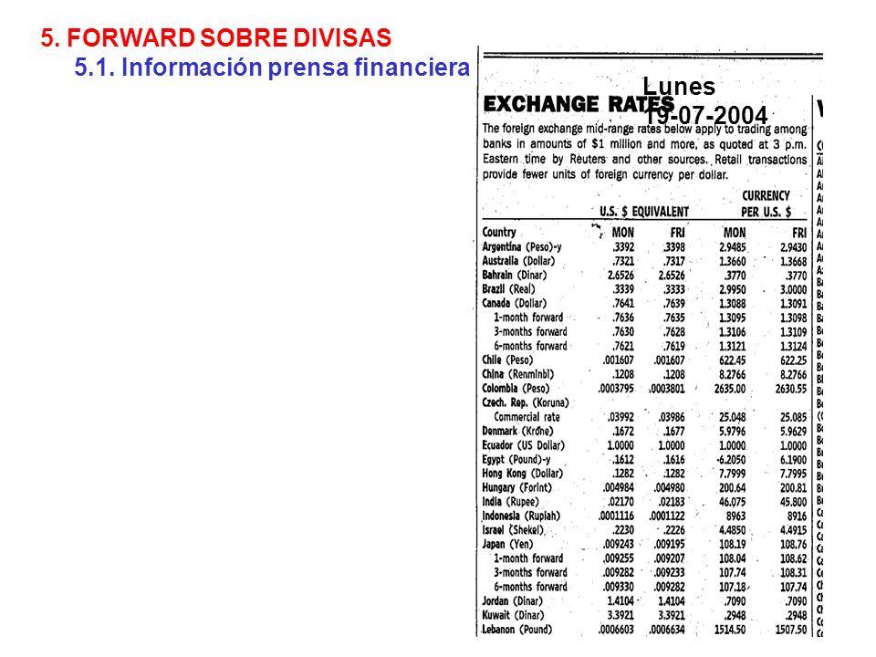 5. FORWARD SOBRE DIVISAS 5.1. Información prensa financiera Lunes 19-07-2004