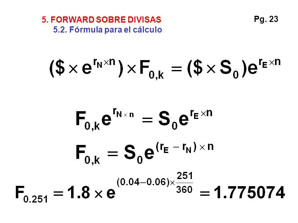 5. FORWARD SOBRE DIVISAS 5.2. Fórmula para el cálculo Pg. 23