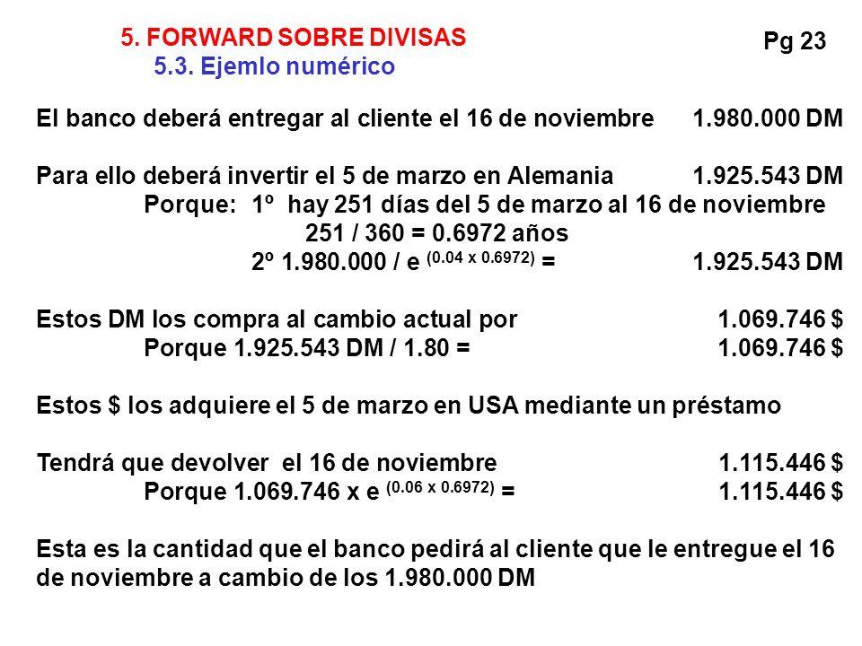 5. FORWARD SOBRE DIVISAS 5.3. Ejemlo numérico. Pg 23. El banco deberá entregar al cliente el 16 de noviembre 1.980.000 DM.