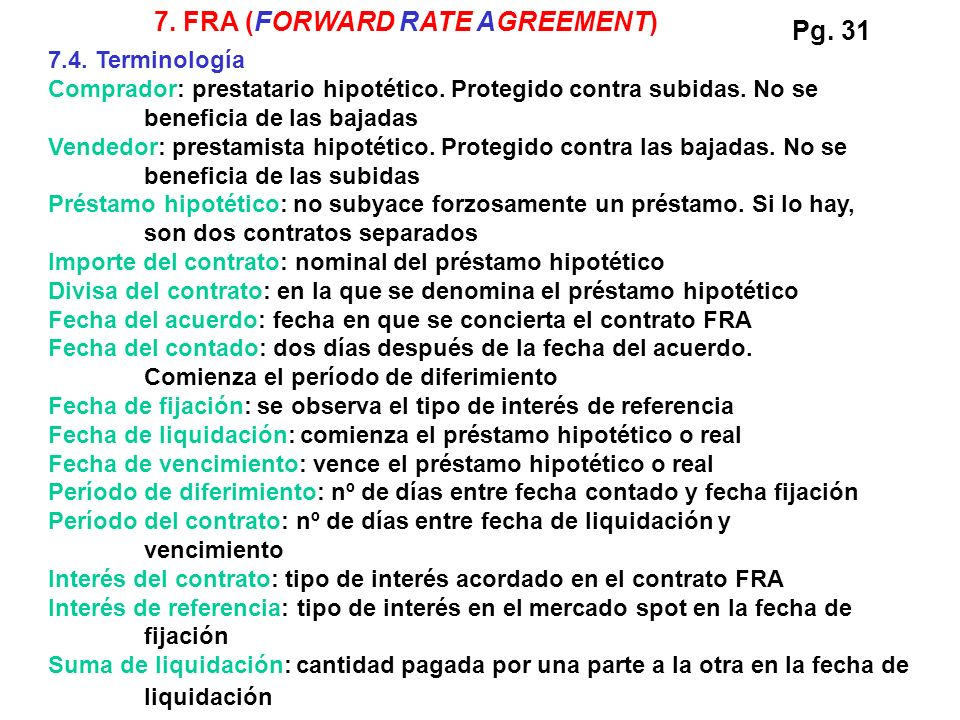 7. FRA (FORWARD RATE AGREEMENT) Pg. 31