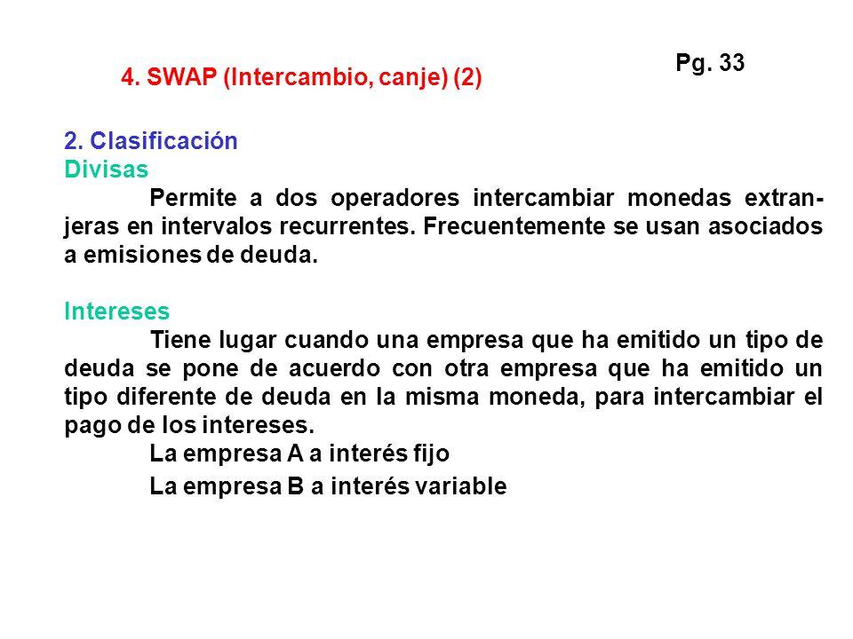 Pg. 33 4. SWAP (Intercambio, canje) (2) 2. Clasificación. Divisas.