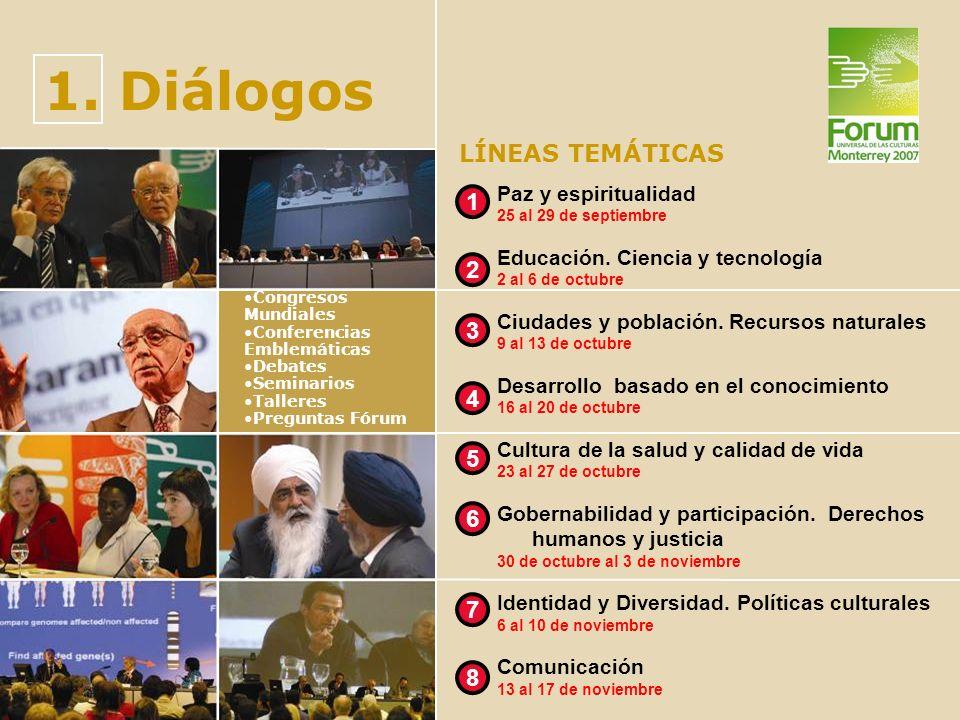 1. Diálogos LÍNEAS TEMÁTICAS 1 2 3 4 5 6 7 8 Paz y espiritualidad