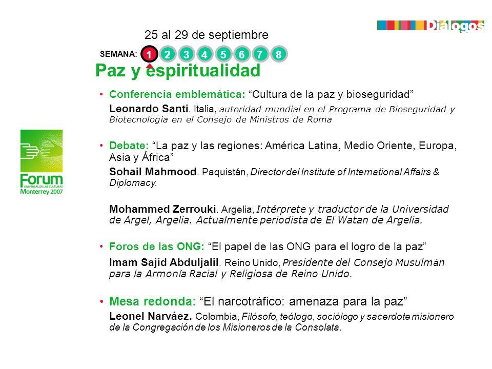 Paz y espiritualidad 25 al 29 de septiembre