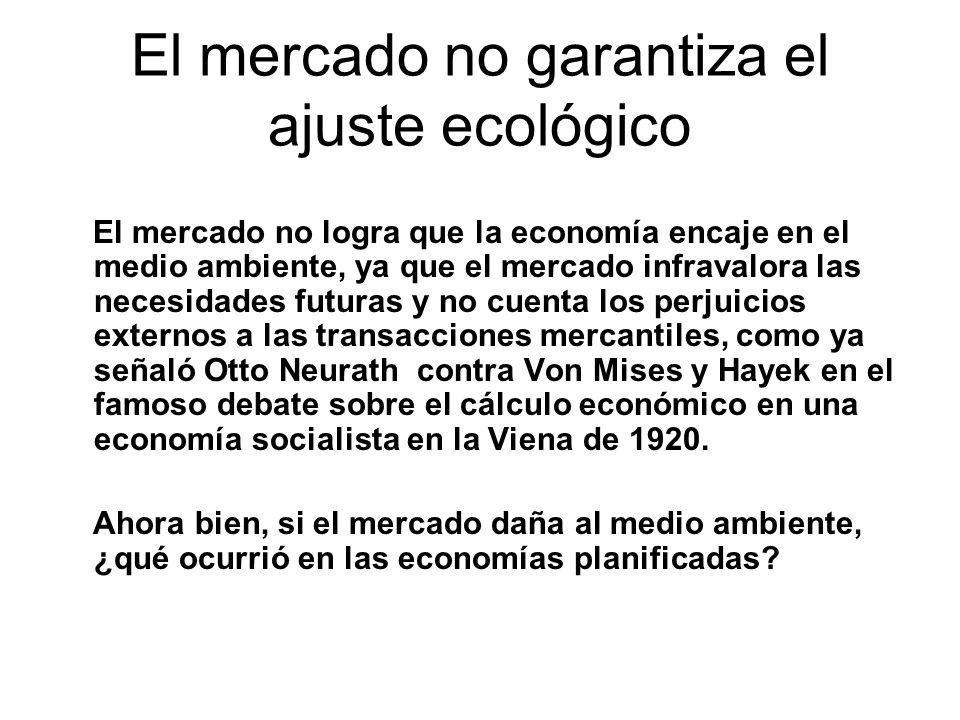 El mercado no garantiza el ajuste ecológico