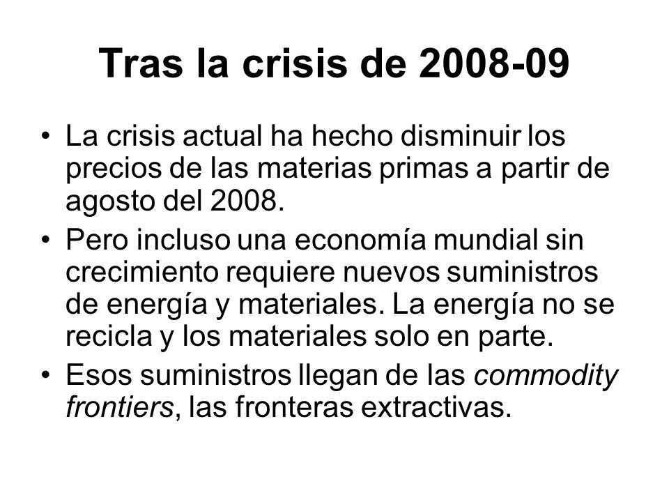 Tras la crisis de 2008-09 La crisis actual ha hecho disminuir los precios de las materias primas a partir de agosto del 2008.
