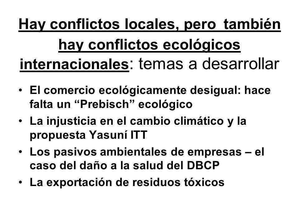 Hay conflictos locales, pero también hay conflictos ecológicos internacionales: temas a desarrollar