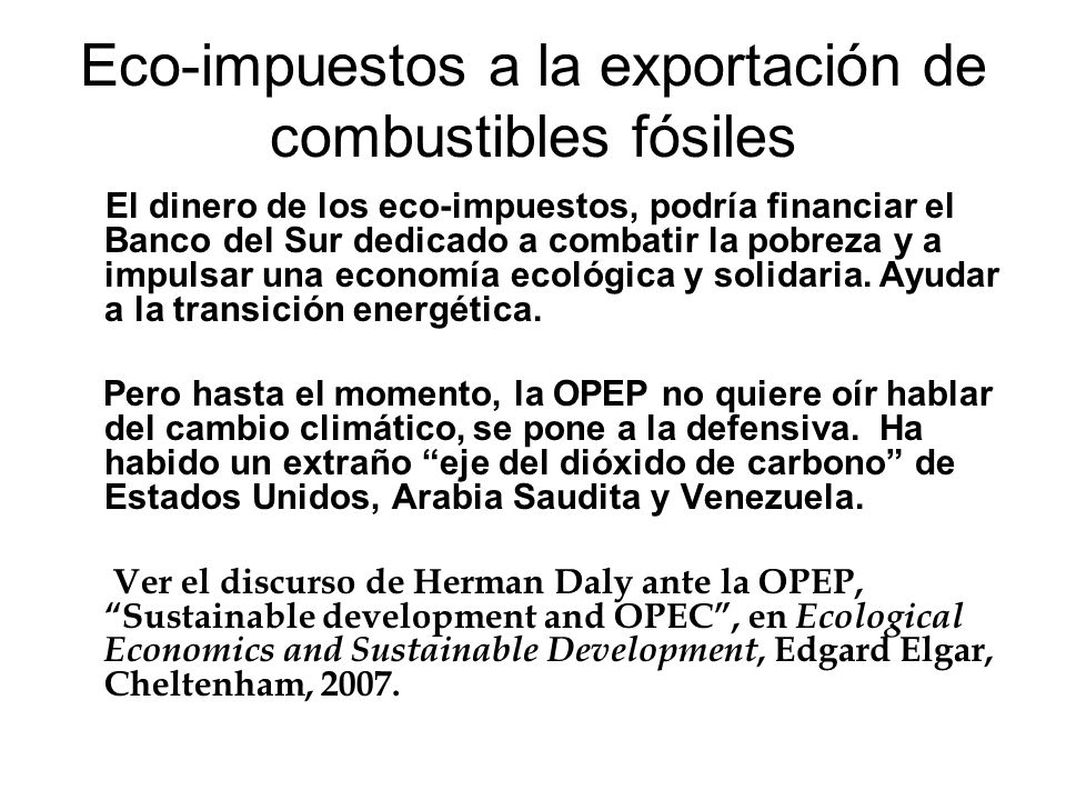 Eco-impuestos a la exportación de combustibles fósiles