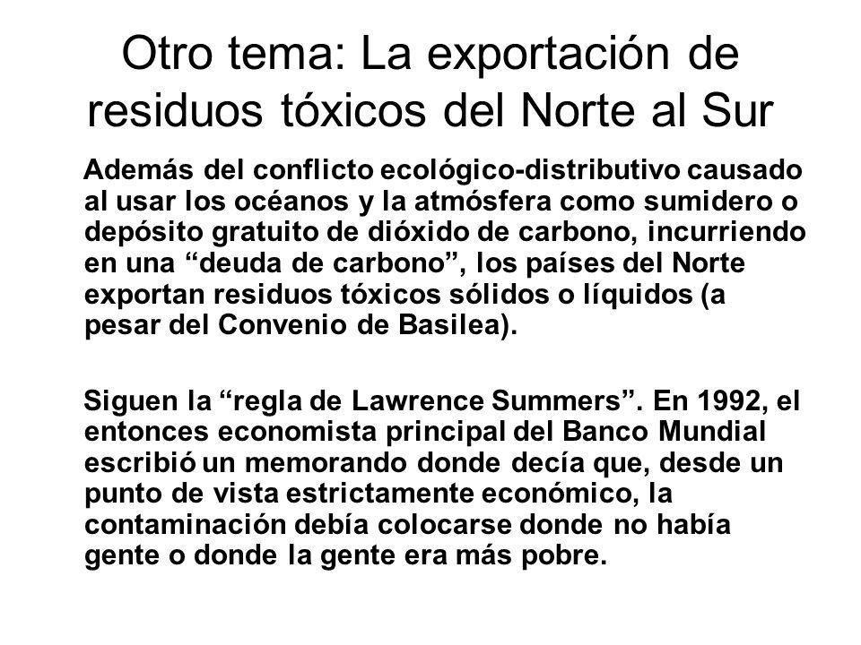 Otro tema: La exportación de residuos tóxicos del Norte al Sur