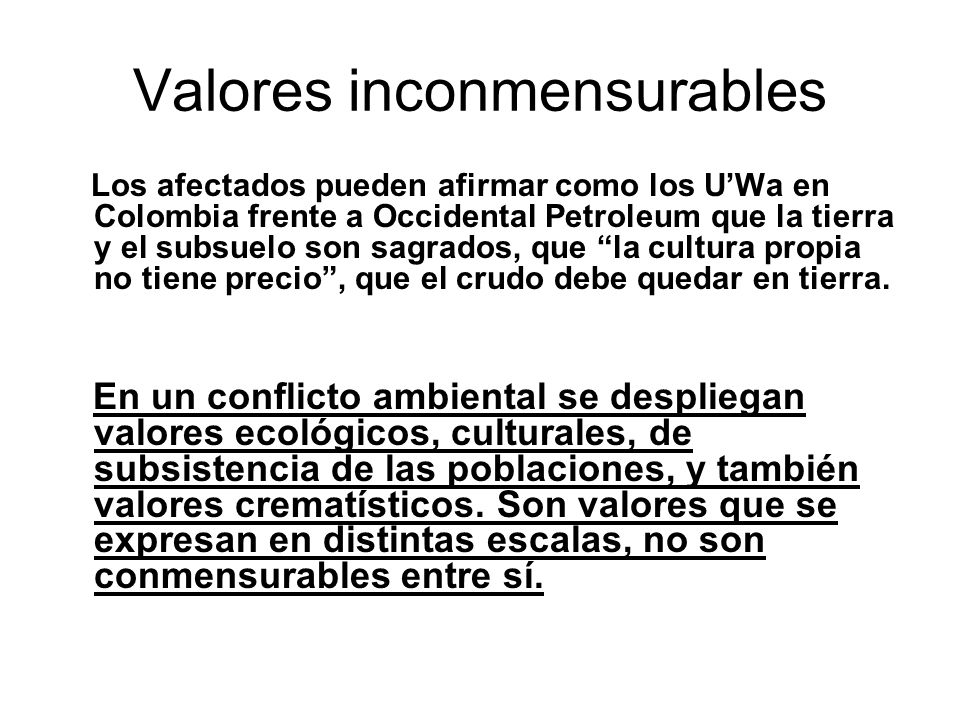 Valores inconmensurables