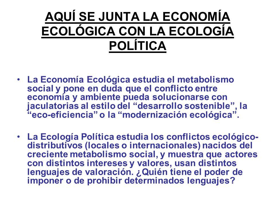 AQUÍ SE JUNTA LA ECONOMÍA ECOLÓGICA CON LA ECOLOGÍA POLÍTICA