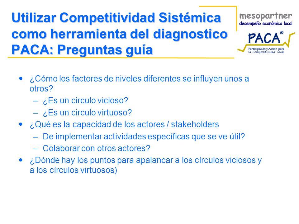 Utilizar Competitividad Sistémica como herramienta del diagnostico PACA: Preguntas guía