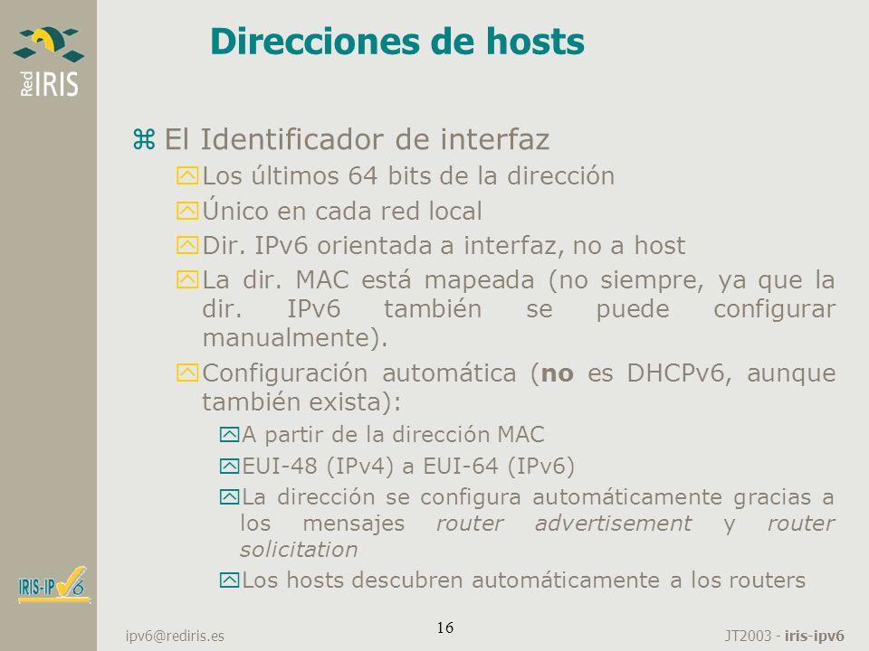 Direcciones de hosts El Identificador de interfaz