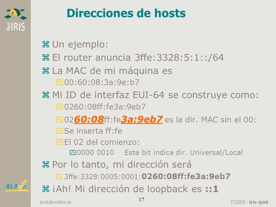 Direcciones de hosts Un ejemplo: El router anuncia 3ffe:3328:5:1::/64