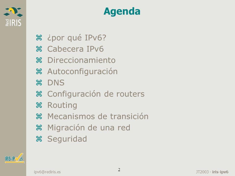 Agenda ¿por qué IPv6 Cabecera IPv6 Direccionamiento Autoconfiguración