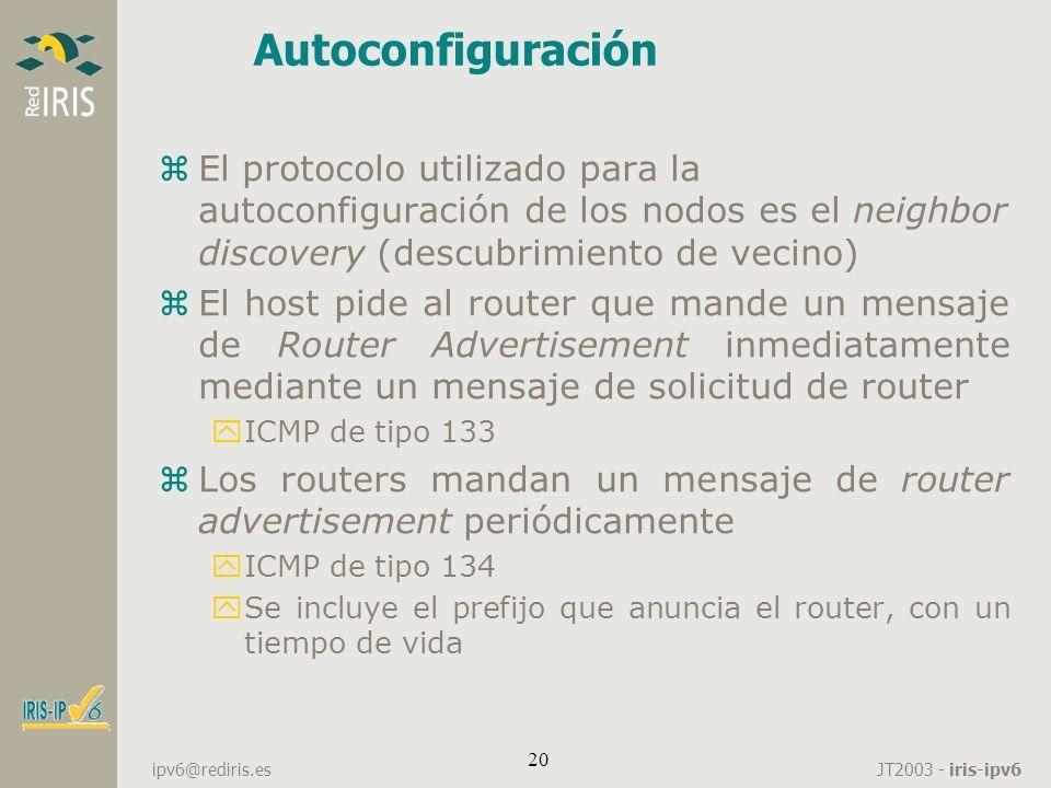 Autoconfiguración El protocolo utilizado para la autoconfiguración de los nodos es el neighbor discovery (descubrimiento de vecino)