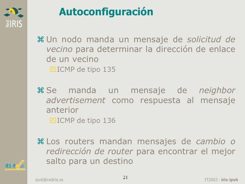 Autoconfiguración Un nodo manda un mensaje de solicitud de vecino para determinar la dirección de enlace de un vecino.