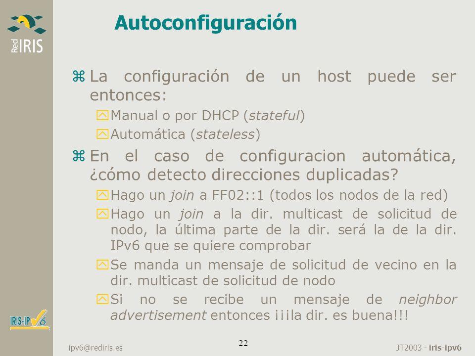 Autoconfiguración La configuración de un host puede ser entonces: