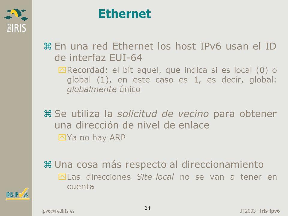 Ethernet En una red Ethernet los host IPv6 usan el ID de interfaz EUI-64.