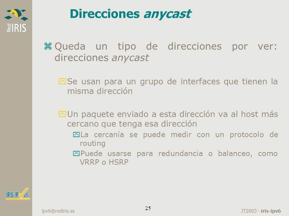 Direcciones anycastQueda un tipo de direcciones por ver: direcciones anycast. Se usan para un grupo de interfaces que tienen la misma dirección.