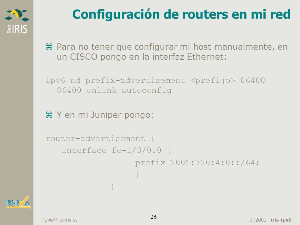 Configuración de routers en mi red