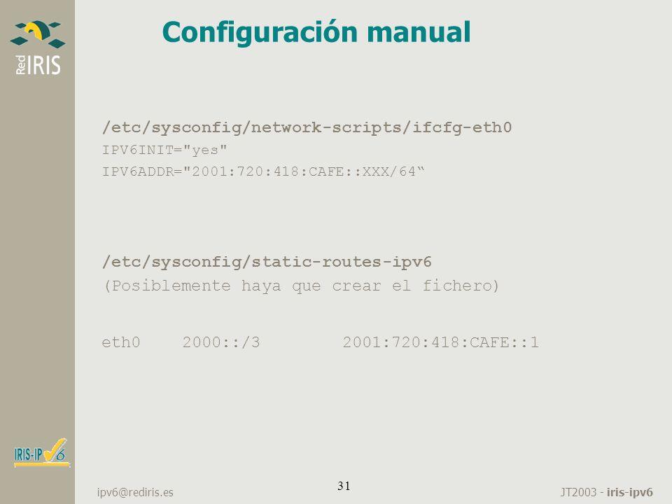 Configuración manual /etc/sysconfig/network-scripts/ifcfg-eth0