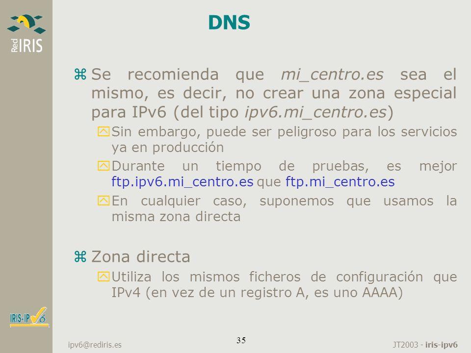 DNS Se recomienda que mi_centro.es sea el mismo, es decir, no crear una zona especial para IPv6 (del tipo ipv6.mi_centro.es)
