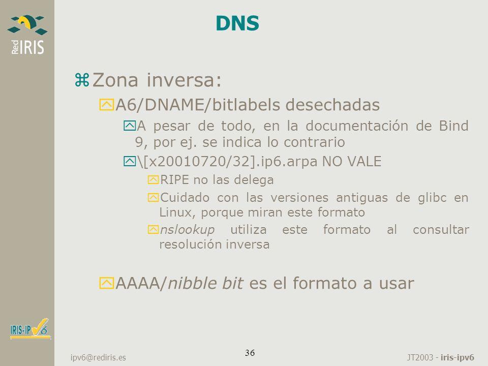 DNS Zona inversa: A6/DNAME/bitlabels desechadas