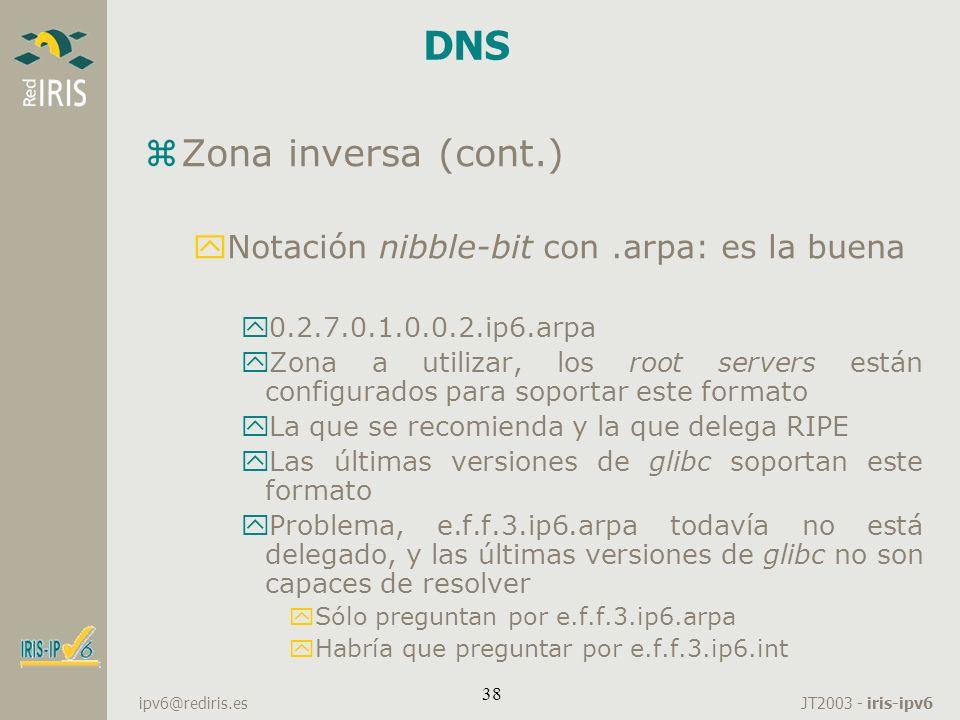 DNS Zona inversa (cont.) Notación nibble-bit con .arpa: es la buena