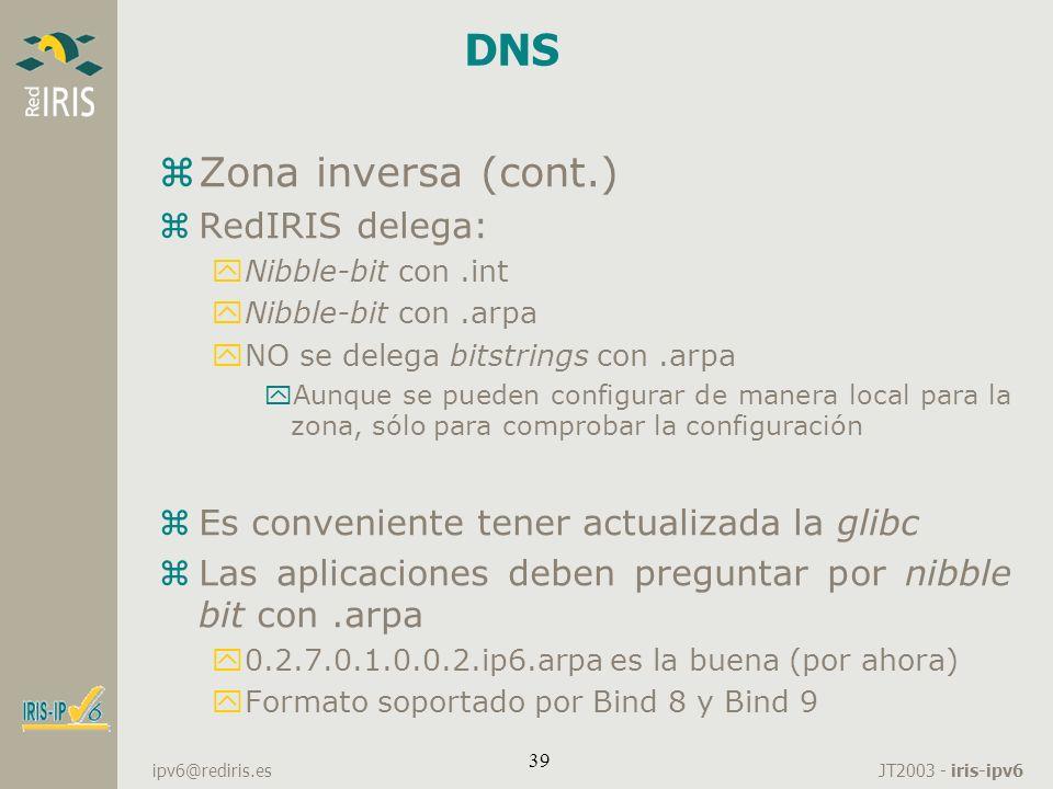 DNS Zona inversa (cont.) RedIRIS delega: