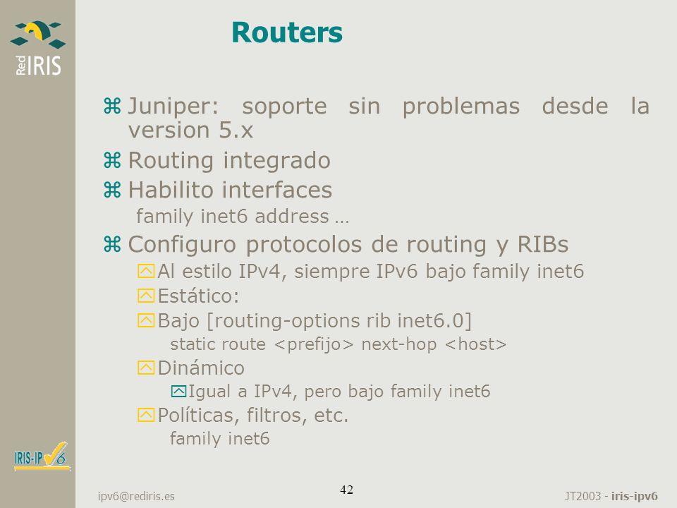 Routers Juniper: soporte sin problemas desde la version 5.x