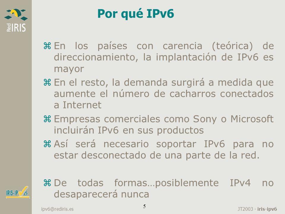 Por qué IPv6 En los países con carencia (teórica) de direccionamiento, la implantación de IPv6 es mayor.