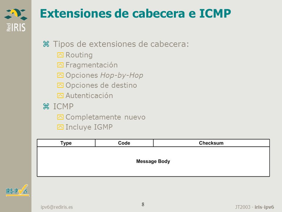 Extensiones de cabecera e ICMP