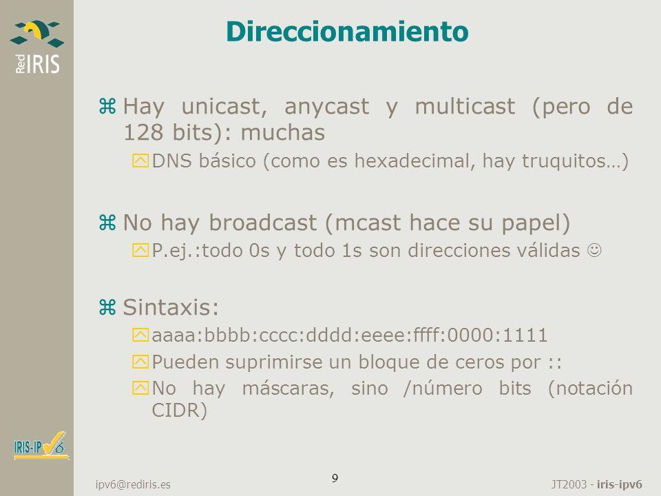Direccionamiento Hay unicast, anycast y multicast (pero de 128 bits): muchas. DNS básico (como es hexadecimal, hay truquitos…)
