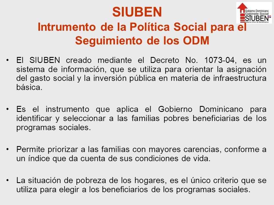 SIUBEN Intrumento de la Política Social para el Seguimiento de los ODM