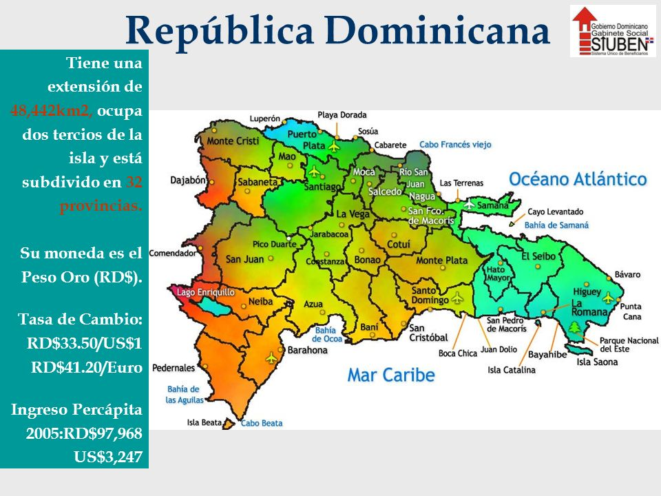 República Dominicana Tiene una extensión de 48,442km2, ocupa dos tercios de la isla y está subdivido en 32 provincias.