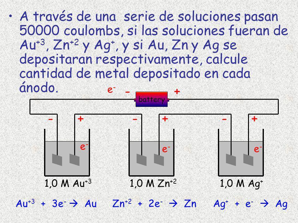 A través de una serie de soluciones pasan 50000 coulombs, si las soluciones fueran de Au+3, Zn+2 y Ag+, y si Au, Zn y Ag se depositaran respectivamente, calcule cantidad de metal depositado en cada ánodo.