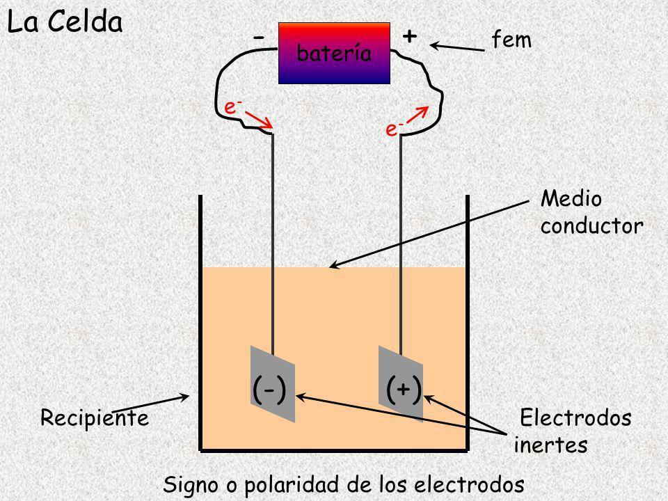 Signo o polaridad de los electrodos