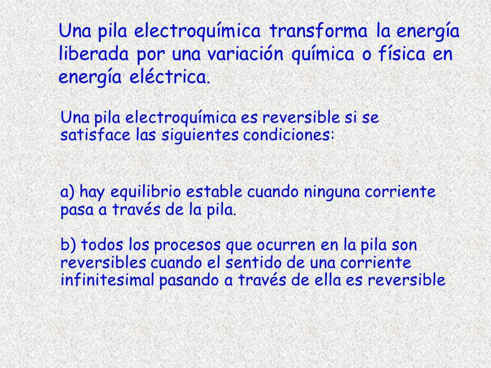 Una pila electroquímica transforma la energía liberada por una variación química o física en energía eléctrica.