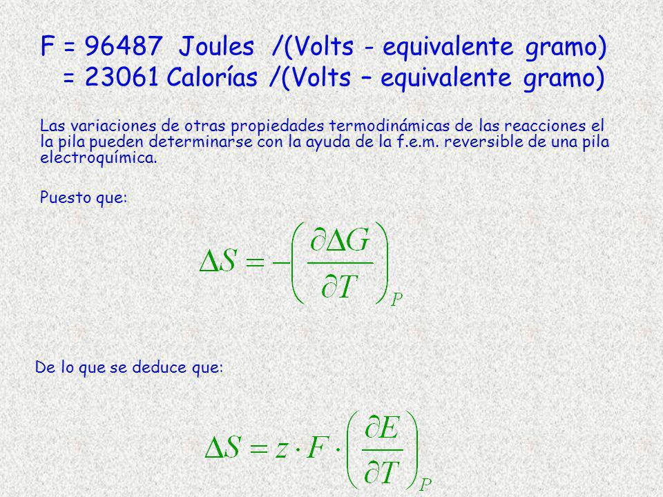 F = 96487 Joules /(Volts - equivalente gramo) = 23061 Calorías /(Volts – equivalente gramo)