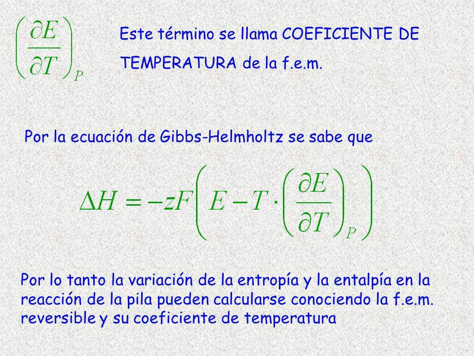 Este término se llama COEFICIENTE DE TEMPERATURA de la f.e.m.