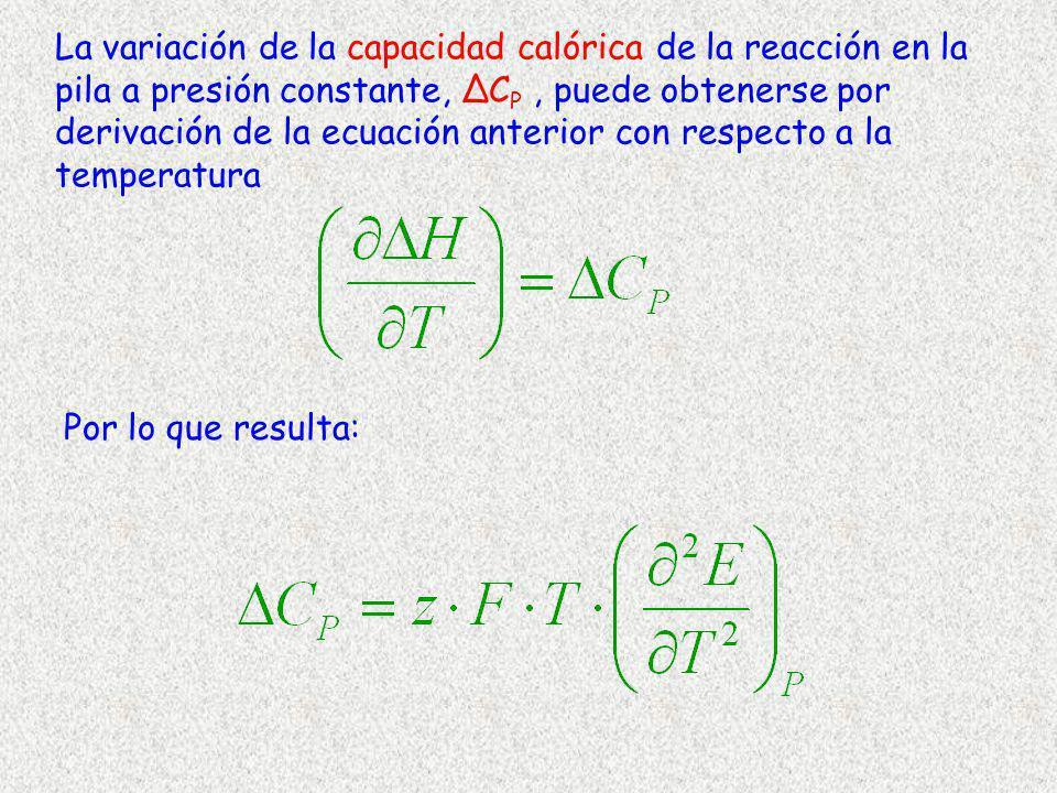 La variación de la capacidad calórica de la reacción en la pila a presión constante, ∆CP , puede obtenerse por derivación de la ecuación anterior con respecto a la temperatura