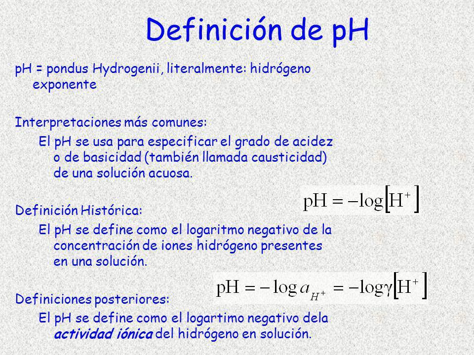 Definición de pH pH = pondus Hydrogenii, literalmente: hidrógeno exponente. Interpretaciones más comunes: