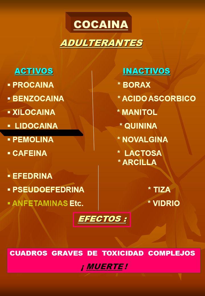 COCAINA EFECTOS : ADULTERANTES ACTIVOS INACTIVOS PROCAINA * BORAX