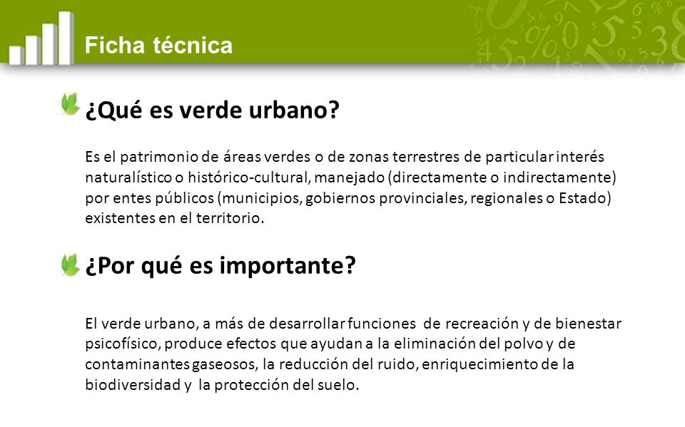 ¿Qué es verde urbano ¿Por qué es importante Ficha técnica