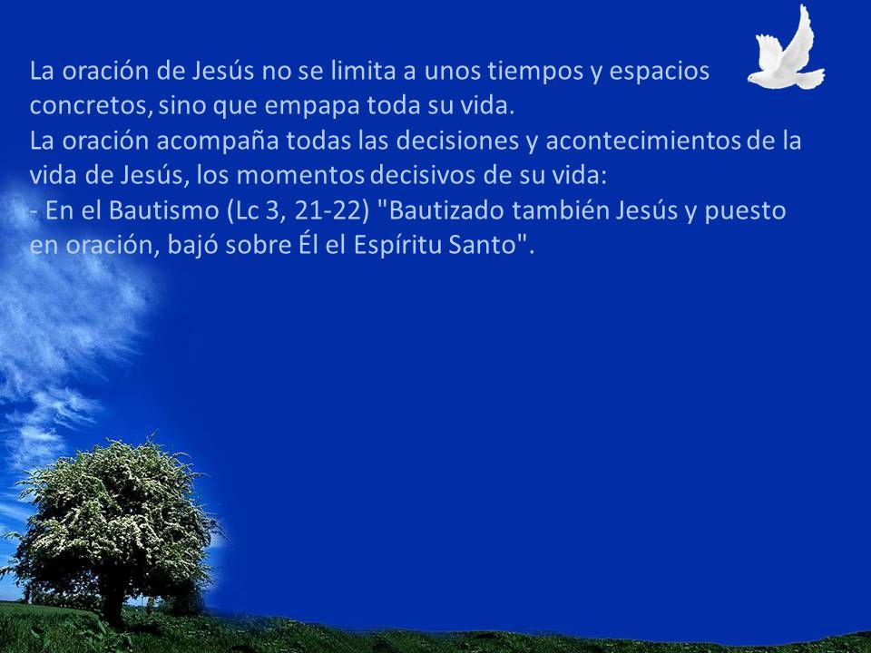 La oración de Jesús no se limita a unos tiempos y espacios concretos, sino que empapa toda su vida.
