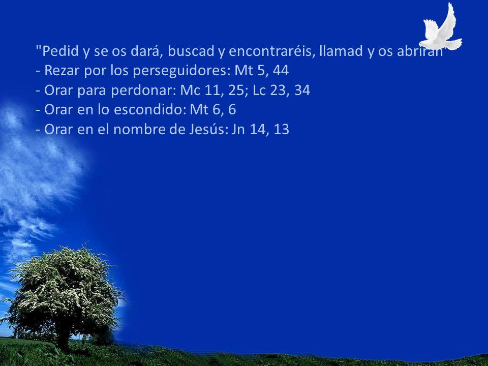 Pedid y se os dará, buscad y encontraréis, llamad y os abrirán - Rezar por los perseguidores: Mt 5, 44 - Orar para perdonar: Mc 11, 25; Lc 23, 34 - Orar en lo escondido: Mt 6, 6 - Orar en el nombre de Jesús: Jn 14, 13