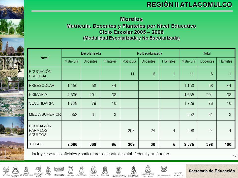 Morelos Matrícula, Docentes y Planteles por Nivel Educativo