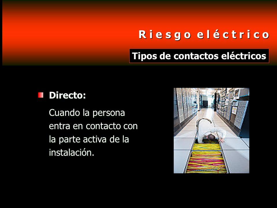 R i e s g o e l é c t r i c o Tipos de contactos eléctricos Directo: